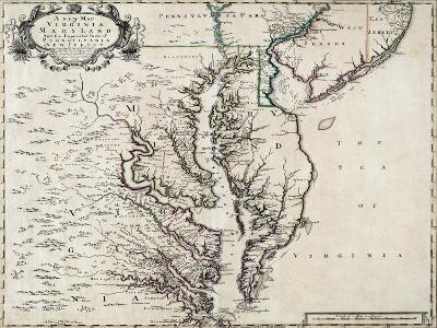 Map of Virginia and Maryland, 1719--Giclee Print