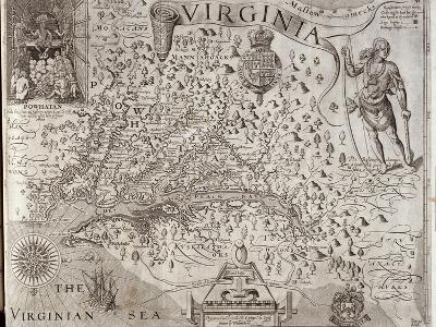 Map of Virginia, Discovered and Described by Captain John Smith, 1606, Engraved by William Hole-John Smith-Giclee Print