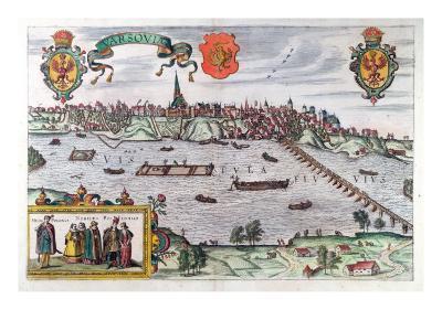 Map of Warsaw, from 'Civitates Orbis Terrarum' by Georg Braun-Joris Hoefnagel-Giclee Print