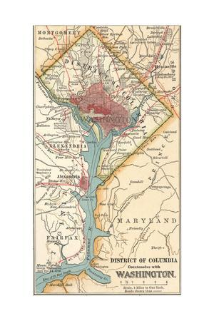 picture about Printable Maps of Washington Dc identified as Map of Washington D.C. (C. 1900), Maps Giclee Print as a result of Encyclopaedia Britannica