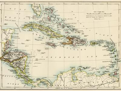 Map of West Indies and the Caribbean Sea, 1800s