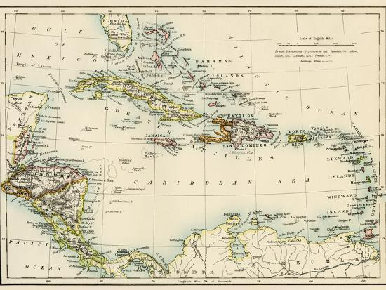 Map of West Indies and the Caribbean Sea, 1800s--Giclee Print
