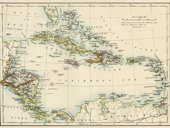 Map Of West Indies And The Caribbean Sea S Giclee Print By - 1800s world map