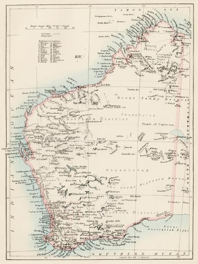 Map of Western Australia, 1870s--Giclee Print