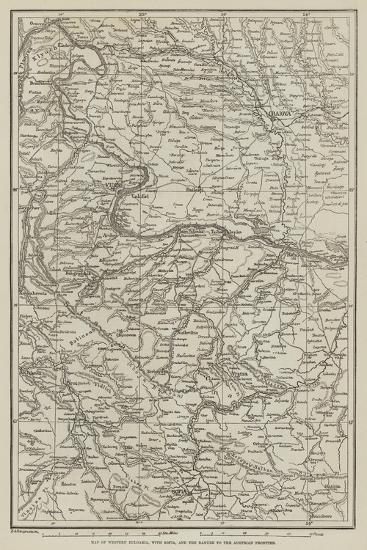 Map of Western Bulgaria, with Sofia, and the Danube to the Austrian Frontier--Giclee Print