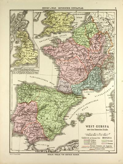 Map of Western Europe and the Roman Empire--Giclee Print
