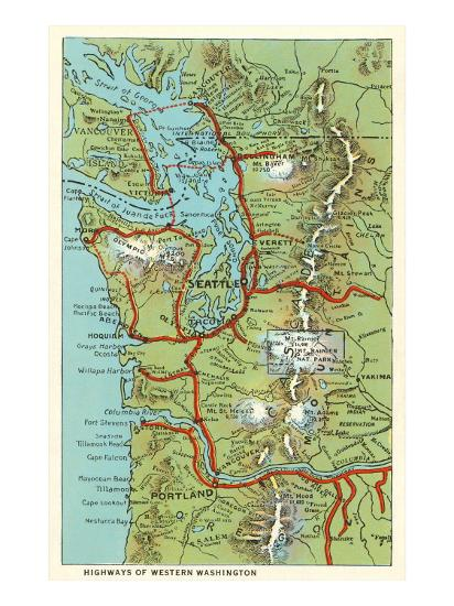 Map of Western Washington Art Print by | Art.com