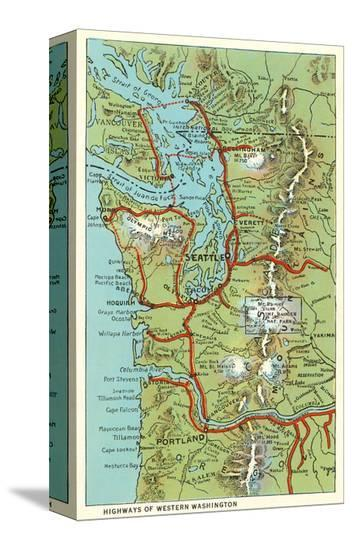 Map of Western Washington--Stretched Canvas Print