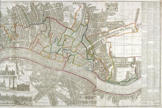 Map of Westminster, the City of London, Southwark and Surrounding Areas, 1743--Giclee Print