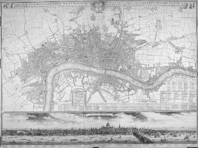 Map of Westminster, the City of London, Southwark, the Thames and Surrounding Areas, 1710--Giclee Print