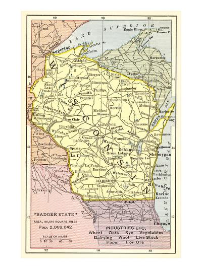 Map of Wisconsin--Art Print
