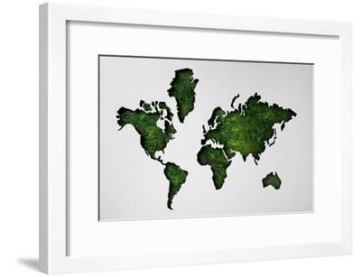 Map of World Made of Lush Forest-Thomas Northcut-Framed Photographic Print