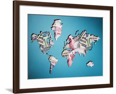 Map of World Made of Various Currency-Thomas Northcut-Framed Photographic Print