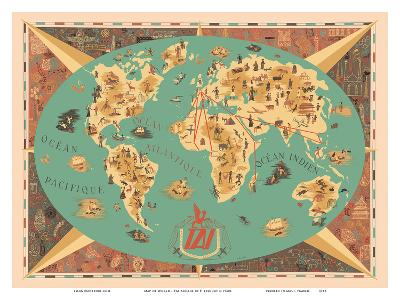 Map of World - TAI Airline (Transports Aeriens Intercontinenteaux)-F^ Lesourt-Art Print