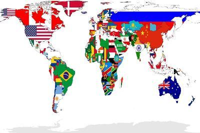 Map Of World With Flags In Relevant Countries, Isolated On White Background-Speedfighter-Art Print