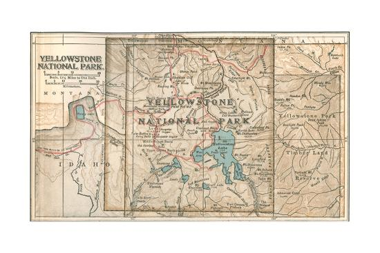 Map of Yellowstone National Park (C. 1900), Maps Giclee Print by  Encyclopaedia Britannica | Art.com