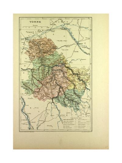 Map of Yonne France--Giclee Print