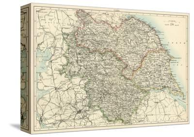 Map of Yorkshire, England, 1870s--Stretched Canvas Print