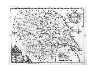 Map of Yorkshire--Giclee Print