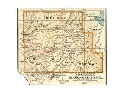 Map of Yosemite National Park (C. 1900), Maps-Encyclopaedia Britannica-Giclee Print