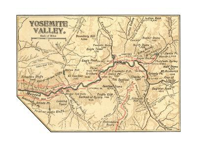 Map of Yosemite Valley (C. 1900), Maps-Encyclopaedia Britannica-Giclee Print