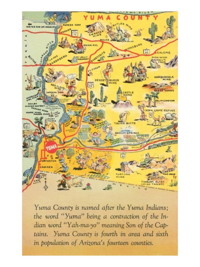 Map Of Yuma Arizona And Surrounding Area.Map Of Yuma County Arizona Art Print By Art Com
