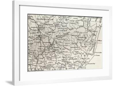 Map of Zululand and Adjoining Portions of Natal at the End of the 19th Century--Framed Giclee Print