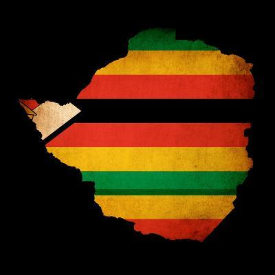 Map Outline Of Zimbabwe With Flag Grunge Paper Effect-Veneratio-Art Print
