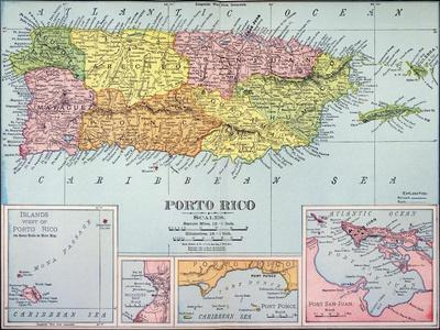 photo about Printable Map of Puerto Rico identified as Map: Puerto Rico, 1900 Giclee Print by way of