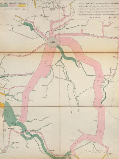 Map Representing the Approximate Tonnage of Wines and Spirits in Circulation in France in 1857-Charles Joseph Minard-Premium Giclee Print