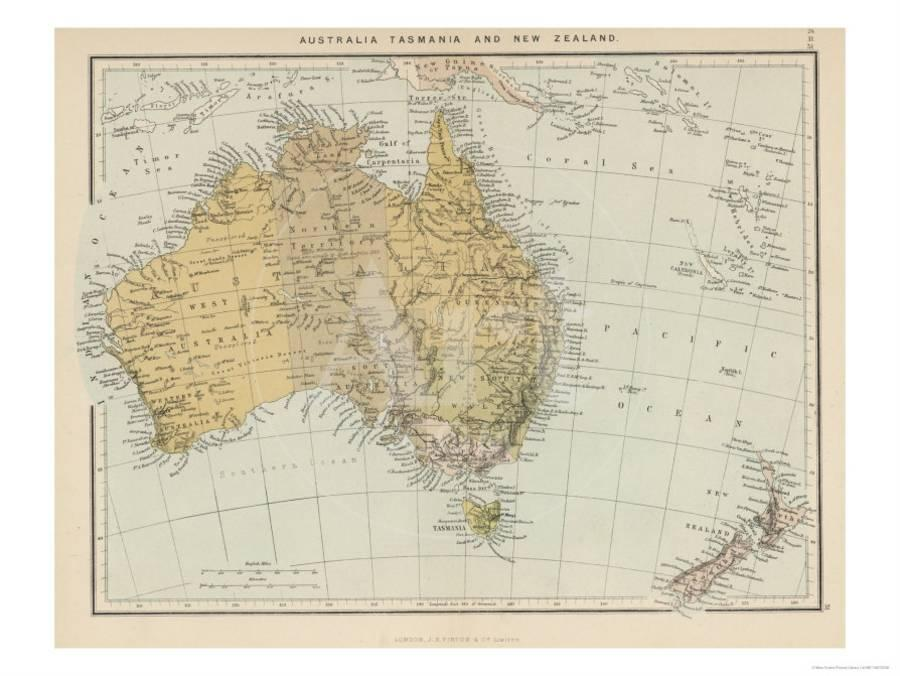 New Zealand Map Australia.Map Showing Australia Tasmania New Zealand And Neighbouring Islands Giclee Print By Art Com