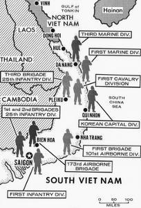 Map Showing Divisions in the Vietnam War