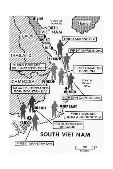 Map Showing Divisions in the Vietnam War--Giclee Print