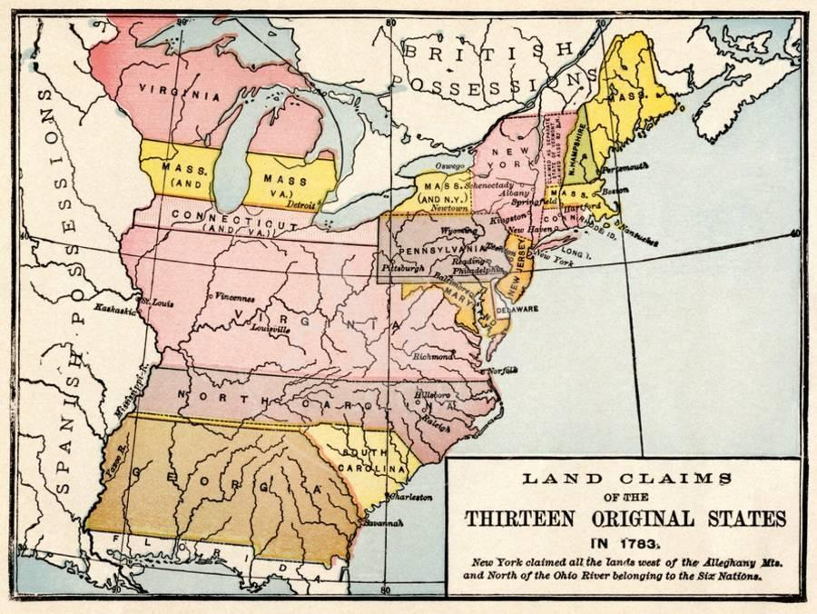 Map Showing Land Claims of the 13 Original States in 1783 Giclee Print on map of usa 1790, original 13 us states, 1st 13 states, map of seven cities, revolutionary war 13 states, map of five nations, united state map 13 states, map of asia pacific region, map of mid-atlantic region, 13 colonies states, map of industrialized world, map of united sates,