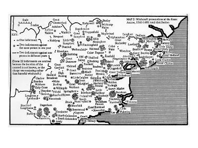 Map Showing Locations of Prosecutions for Witchcraft at Assizes in Essex 1560-1680-English School-Giclee Print