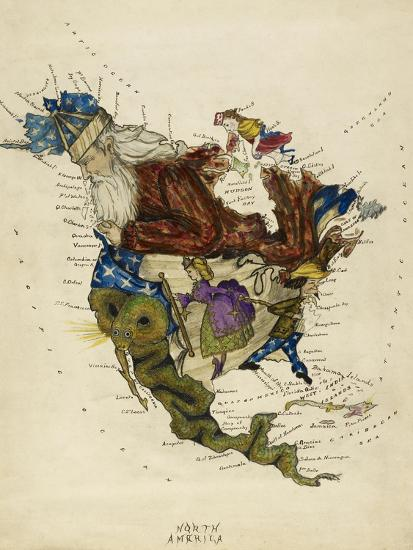 Map Showing North America As a Collection Of Fairy Tale Characters.-Lilian Lancaster-Giclee Print