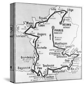 Map Showing Route of Tour De France