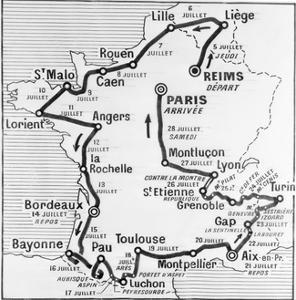 Map Showing Route of Tour De France