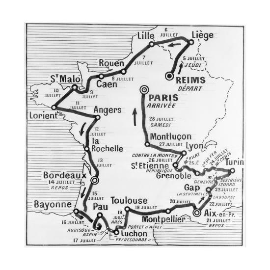 Map Of France Showing Lille.Map Showing Route Of Tour De France Giclee Print By Art Com