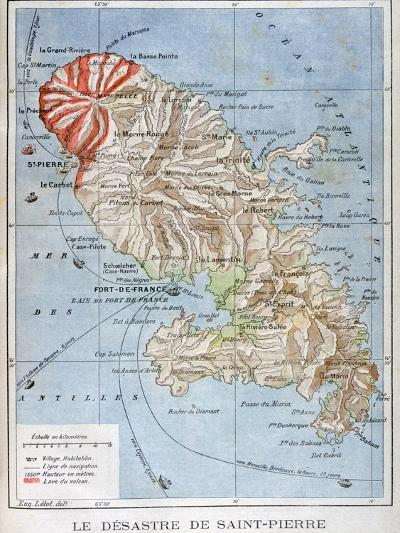 Map Showing the Eruption of Mount Pelee, Martinique, 1902--Giclee Print