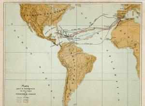 Map Showing the Four Voyages Taken by Columbus