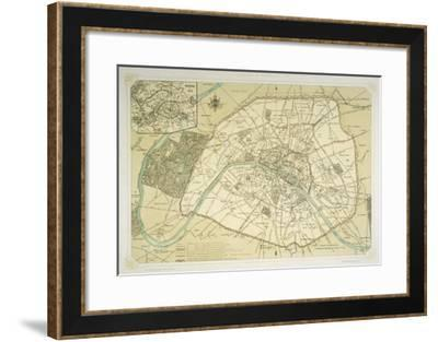 Map Showing the Growth of Paris from Its Earliest Origins to the Latest Projects Under Napoleon III-Felix Benoist-Framed Giclee Print