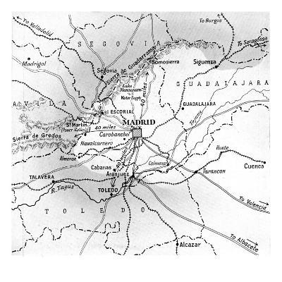 Map Showing the Nationalist Advance on Madrid, October 1936--Giclee Print