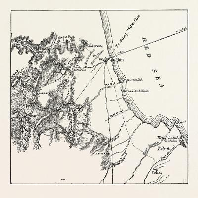 Map Showing the Place Where Baker Pasha Was Defeated February 4 1884 and the Routes from the Coast --Giclee Print