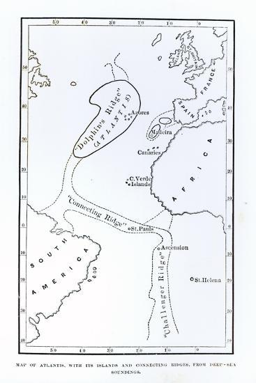 Map Showing the Position of Atlantis--Giclee Print