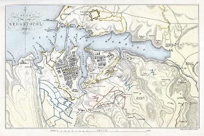 Map Showing the Siege of Sevastopol, Crimean War, 1854-1855-Robert Walker-Giclee Print