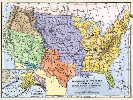 Map Showing the Territorial Growth of the Continental Us 1776 to 1899  Giclee Print by | Art.com
