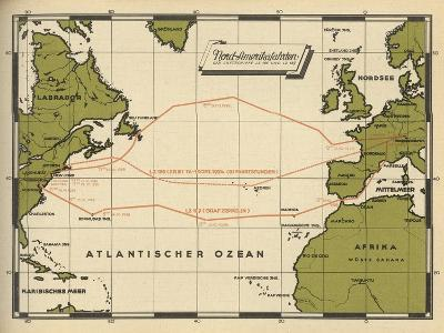 Map Showing the Transatlantic Routes Taken by LZ 126 in October--Giclee Print
