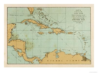 Map Showing the Travels of Columbus in the Caribbean--Giclee Print