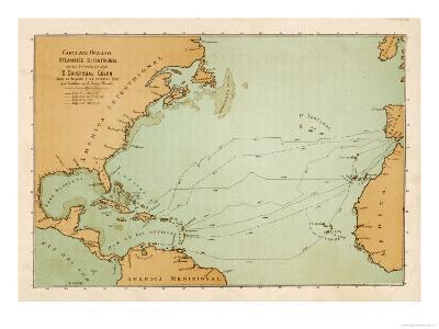 Map Showing the Travels of Columbus off the American Mainland--Giclee Print